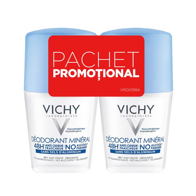 Pachet  Deodorant roll-on mineral fără săruri de aluminiu 48h, 50 ml + 50 ml, Vichy