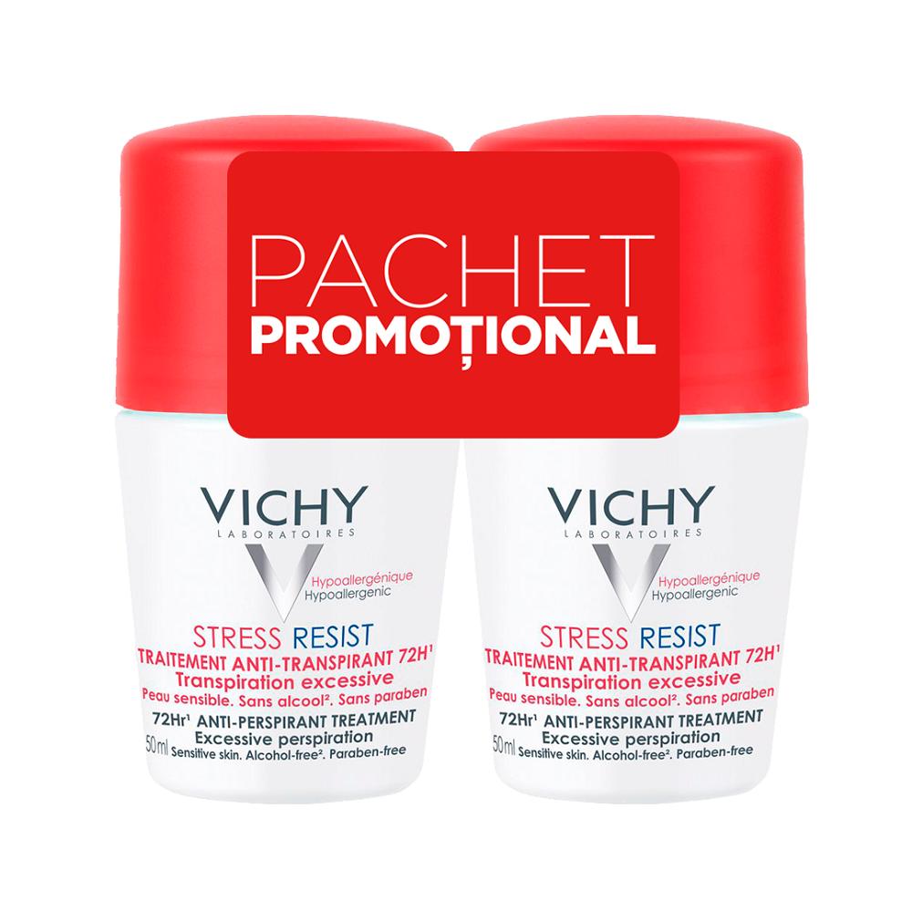 Pachet Deodorant roll-on tratament intensiv anti-transpirant stress-resist 72h, 50 ml + 50 ml, Vichy
