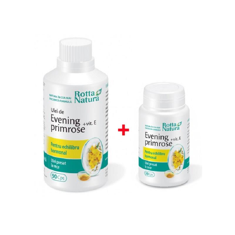 Pachet Evening Primrose + Vitamina E, 90 capsule + 30 capsule, Rotta Natura