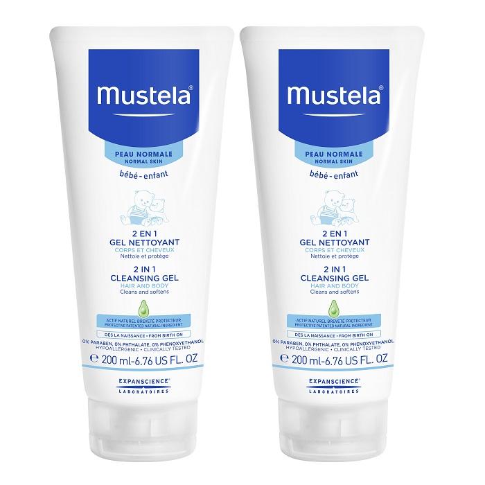Pachet Gel de curățare 2 în 1 păr și corp, 200 + 200 ml, Mustela