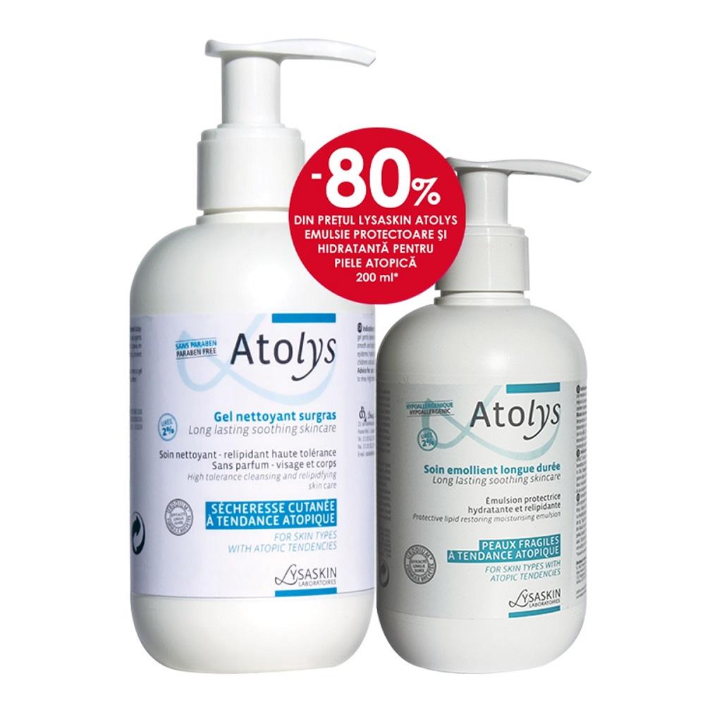 Pachet Gel de curățare pentru piele atopica Atolys, 500 ml + Emulsie pentru piele atopică Atolys, 200 ml, Lab Lysaskin