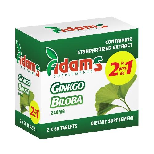 Pachet Ginkgo Biloba, 60 tablete,(1 + 1), Adams Vision