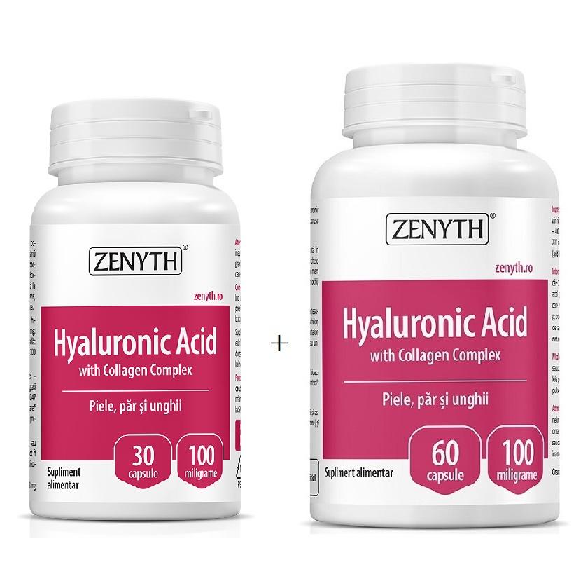 Pachet Hyaluronic Acid cu Collagen Complex, 30+60 capsule, Zenyth