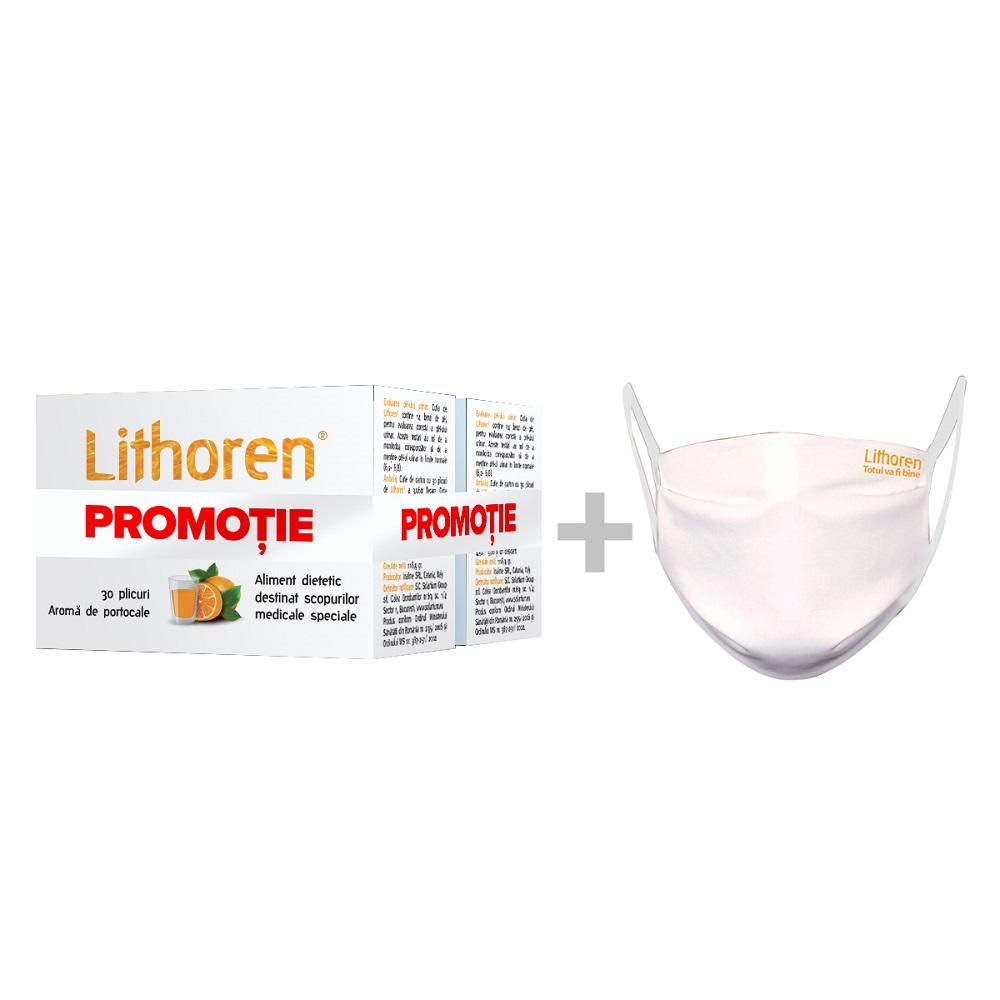 Pachet Lithoren aroma de portocale (1+1), 30 + 30 plicuri + masca, Rafarm