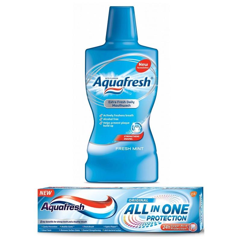 Pachet Pastă de dinți All in One Protection Original, 75 ml + Apă de gură fără alcool Aquafresh, 500 ml, Gsk