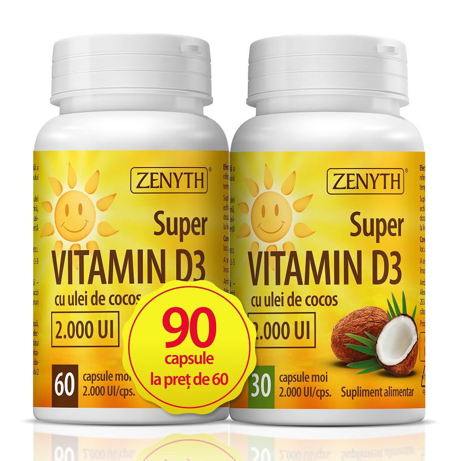 Super Vitamin D3, 60 + 30 capsule, Zenyth