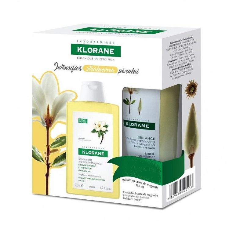 Pachet Șampon cu extract de magnolie pentru păr tern, 200 ml + Balsam cu ceară de magnolie pentru păr tern, 150 ml, Klorane