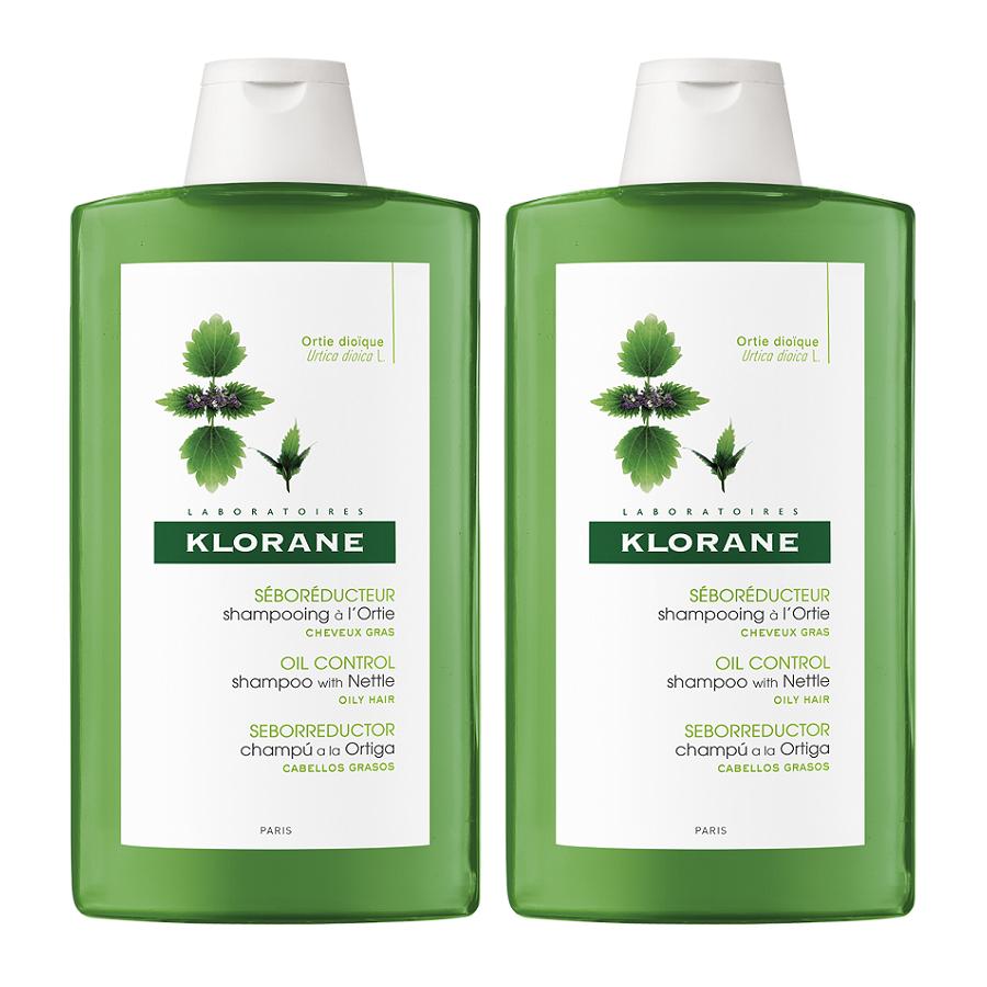 Pachet Șampon cu extract de urzică pentru reglarea sebumului, 400 ml + 400 ml, Klorane