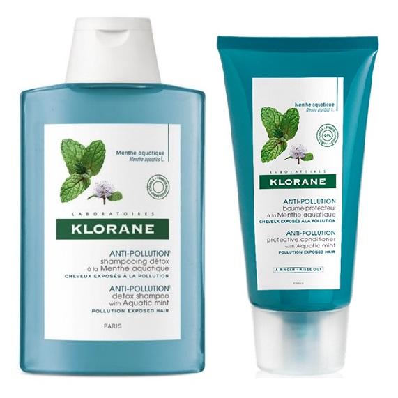 Pachet Șampon detoxifiant cu extract de mentă acvatică pentru păr expus la poluare, 200 ml + Balsam protector cu extract de mentă acvatică pentru păr expus la poluare, 150 ml, Klorane