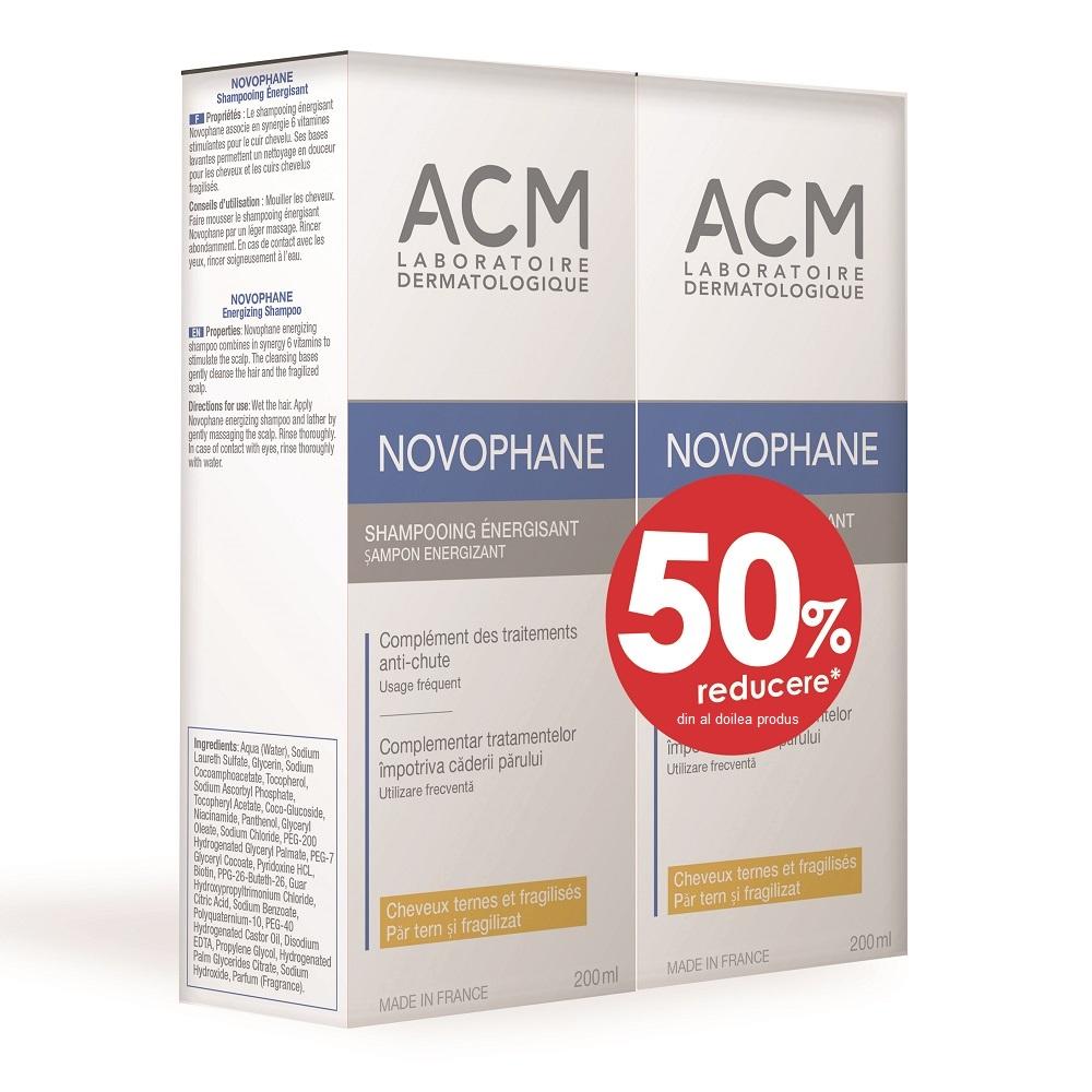 Pachet Șampon energizant Novophane, 200 ml + 200 ml, Acm