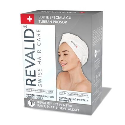 Pachet Șampon revitalizant cu proteine Revalid, 250 ml + Balsam revitalizant Revalid, 250 ml + Turban prosop, Ewopharma