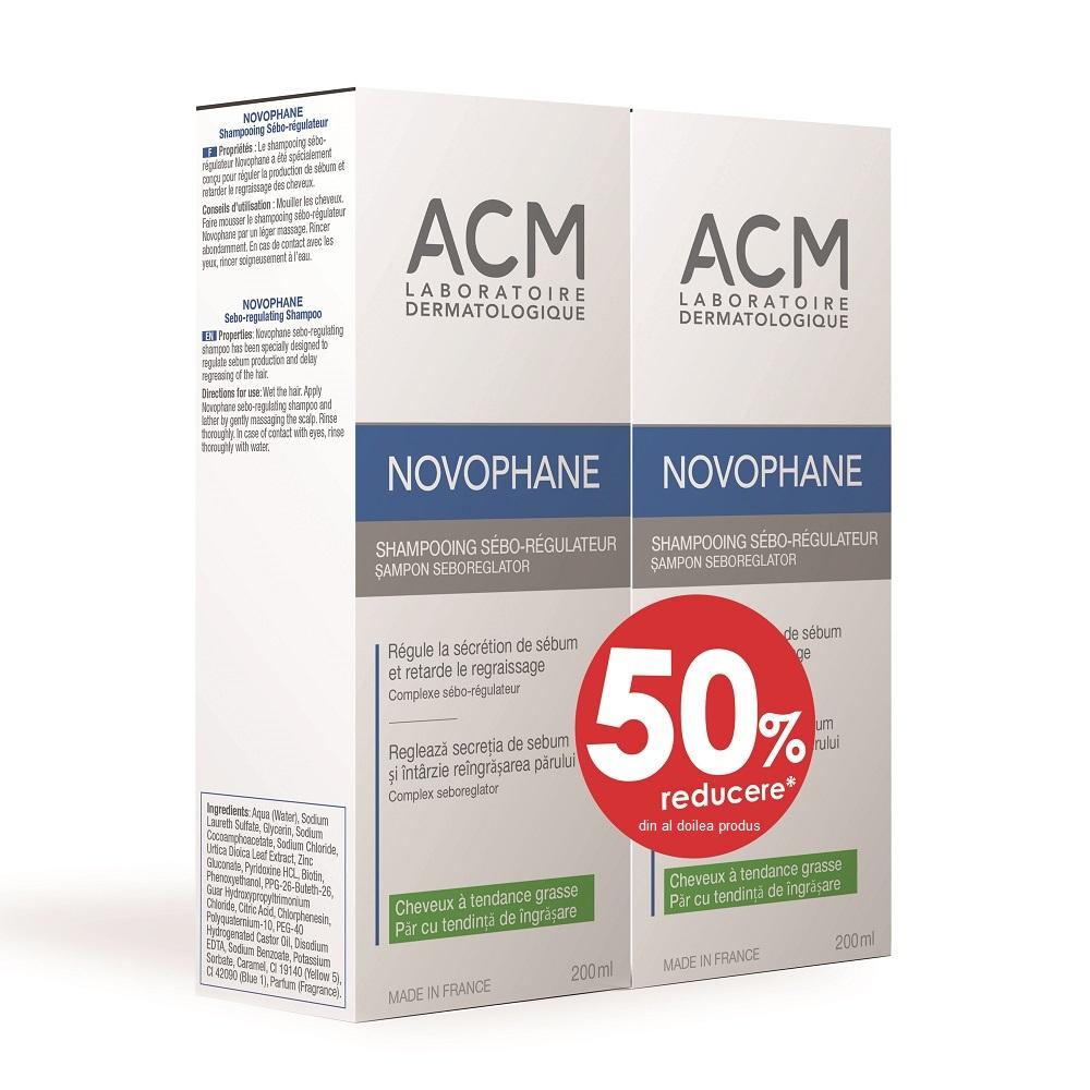 Pachet Șampon seboreglator Novophane, 200 ml + 200 ml, Acm