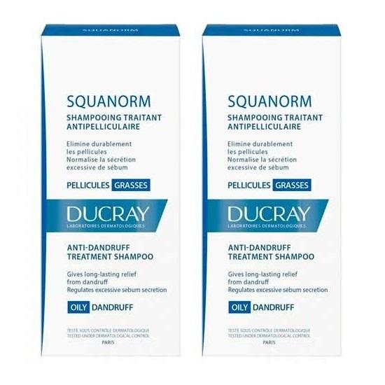 Pachet Sampon tratament anti-matreata grasa Squanorm, 200 ml + 200 ml, Ducray