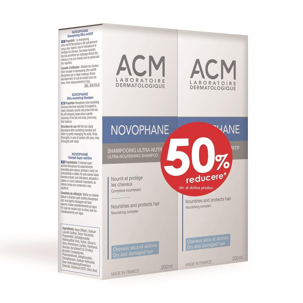Pachet Șampon ultra nutritiv pentru par uscat Novophane, 200 ml + 200 ml, Acm