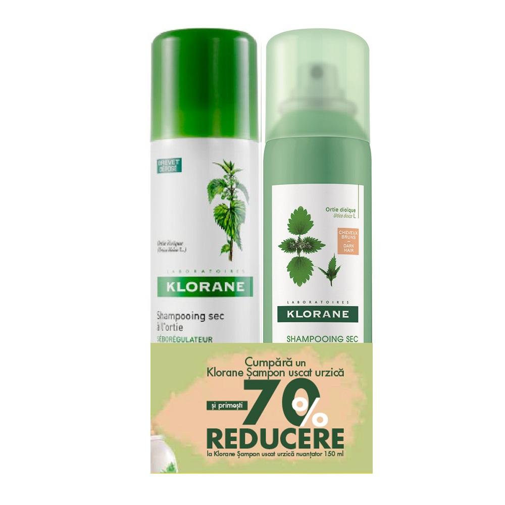 Pachet Șampon uscat cu extract de urzică, 150 ml + Șampon uscat nuanțator cu extract de urzică, 150 ml, Klorane