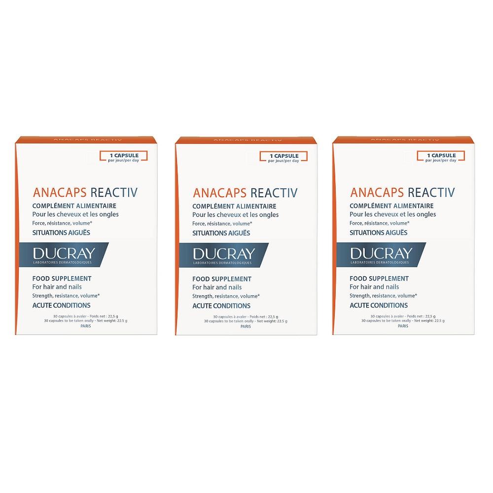 Pachet Supliment pentru par si unghii Anacaps Reactiv, 30 capsule, Ducray (2+1)