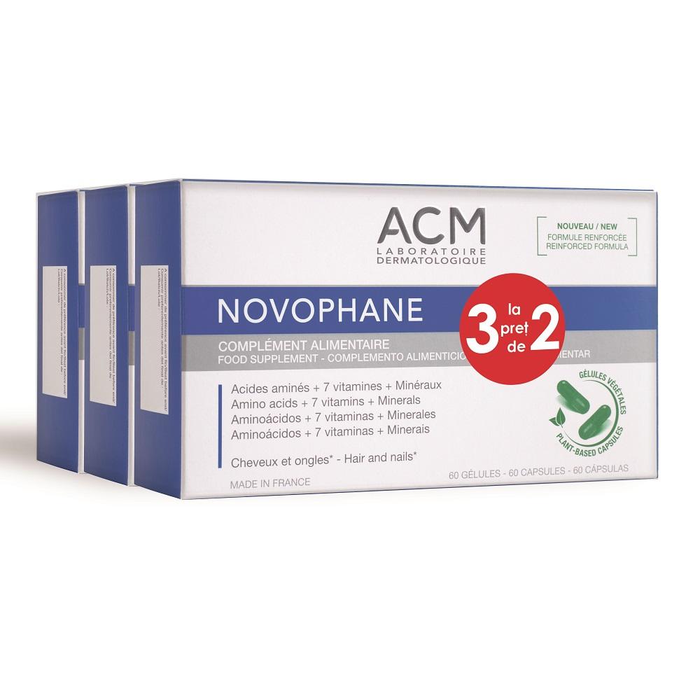 Pachet Tratament pentru unghii și par Novophane, 3 x 60 capsule, Acm