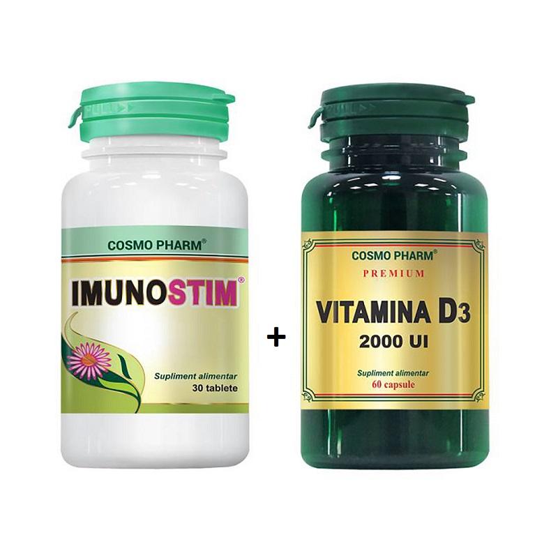 Imunostim, 30 tablete + Premium Vitamina D3 2000 UI, 60 capsule Cosmopharm