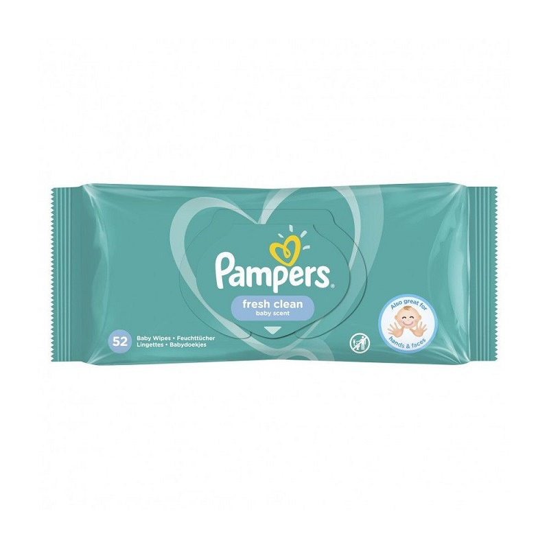 Șervețele umede Fresh Clean, 52 bucăți, Pampers