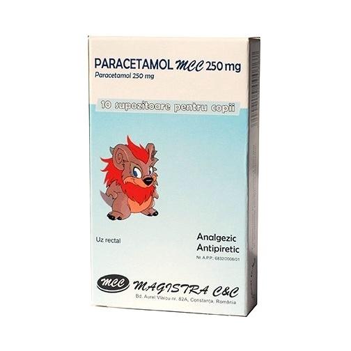 Paracetamol MCC 250 mg supozitoare pentru copii, 10 bucati, Magistra
