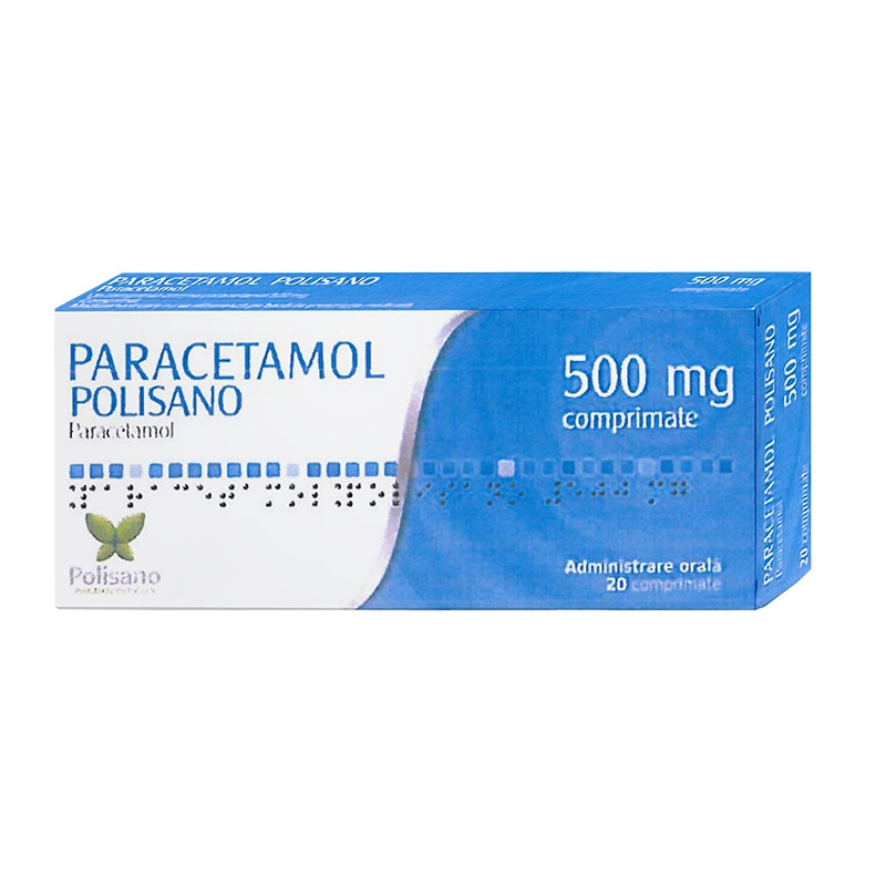 Paracetamol Polisano 500 mg, 20 comprimate, Polisano