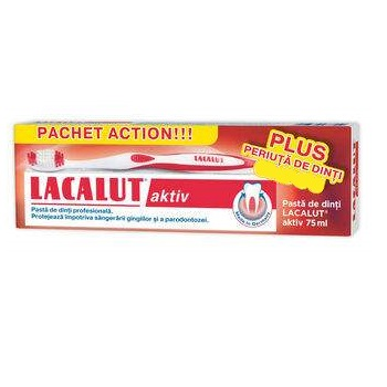 Pastă de dinți medicinala Lacalut Aktiv, 75 ml + Periuță de dinți, Theiss Naturwaren