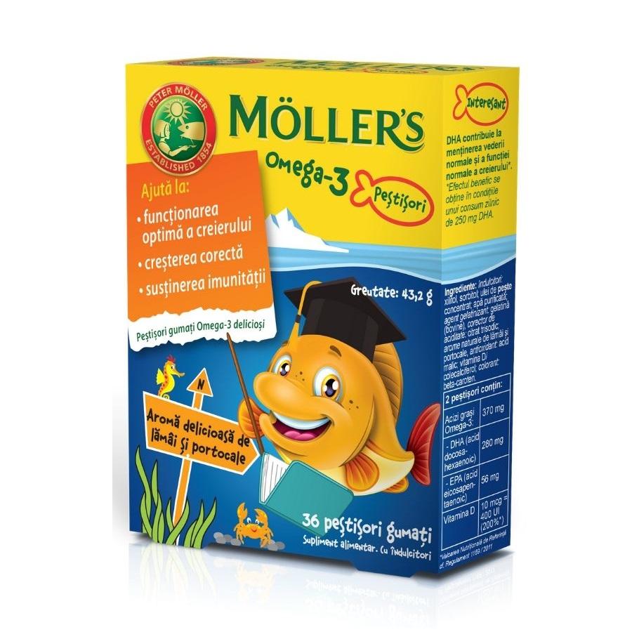 Pestisori gumati cu Omega-3 si aroma de lamai si portocale, 36 jeleuri, Moller's