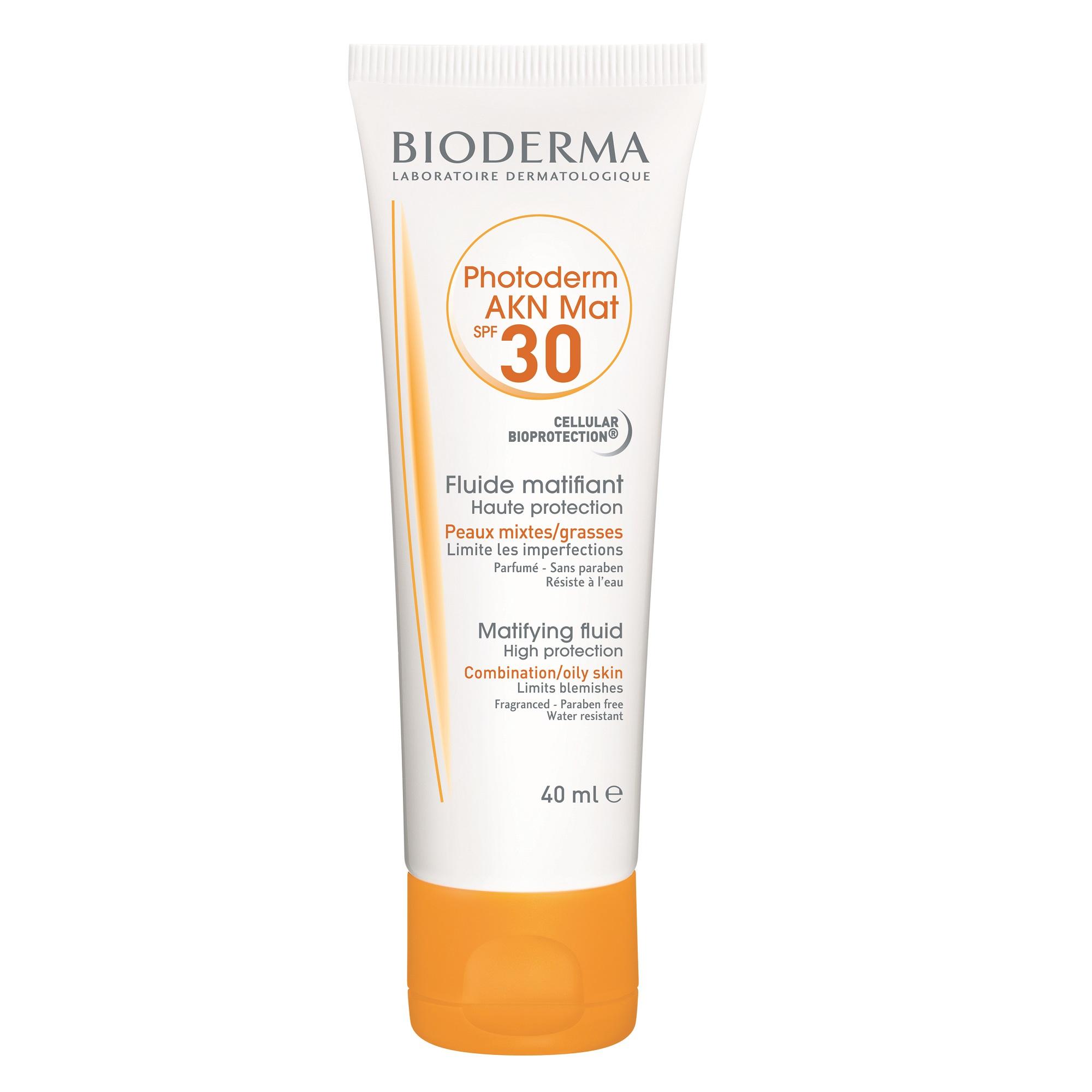 Fluid matifiant pentru ten mixt și gras acneic Photoderm AKN Mat SPF30, 40 ml, Bioderma