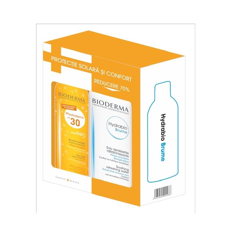 Pachet Spray SPF 30 Photoderm Brume, 150 ml + Spray Hydrabio Brume, 200 ml, Bioderma