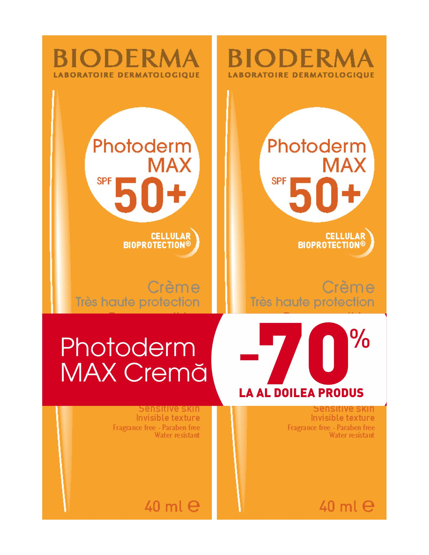 Crema Photoderm MAX 50+, 2x40 ml, Bioderma (70% reducere la al 2-lea produs)