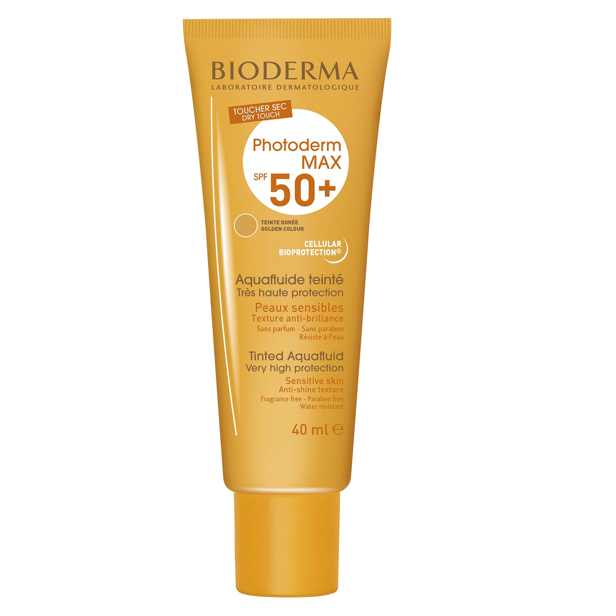 Cremă protecție solară nuanță aurie Photoderm Max Aquafluide SPF 50+, 40 ml, Bioderma