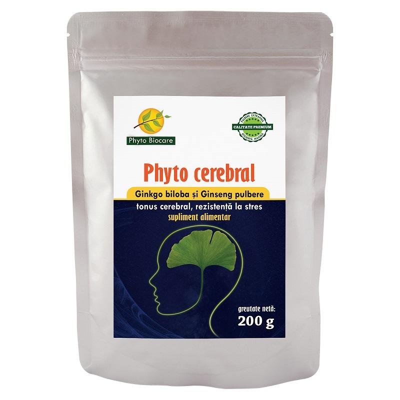 Pulbere de Ginkgo biloba și Ginseng Phyto cerebral, 200 g, Phyto Biocare