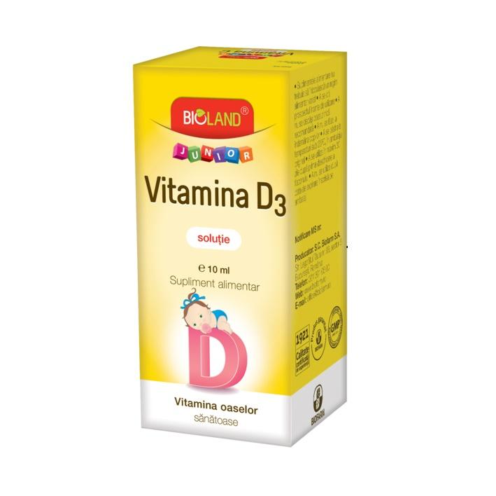 Picături soluție orală Vitamina D3 Bioland Junior, 10 ml, Biofarm