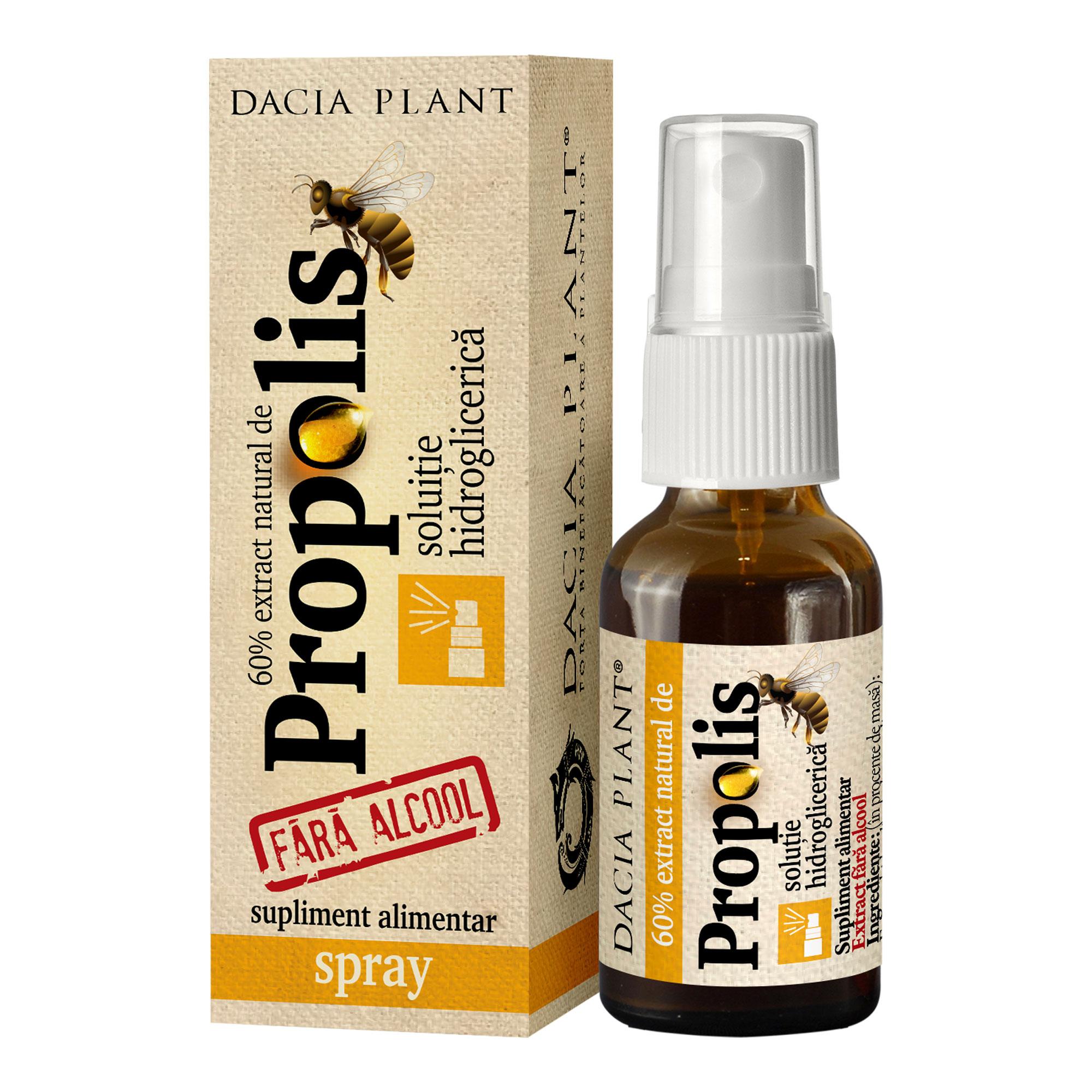 Spray cu extract natural de propolis fără alcool, 20 ml, Dacia Plant