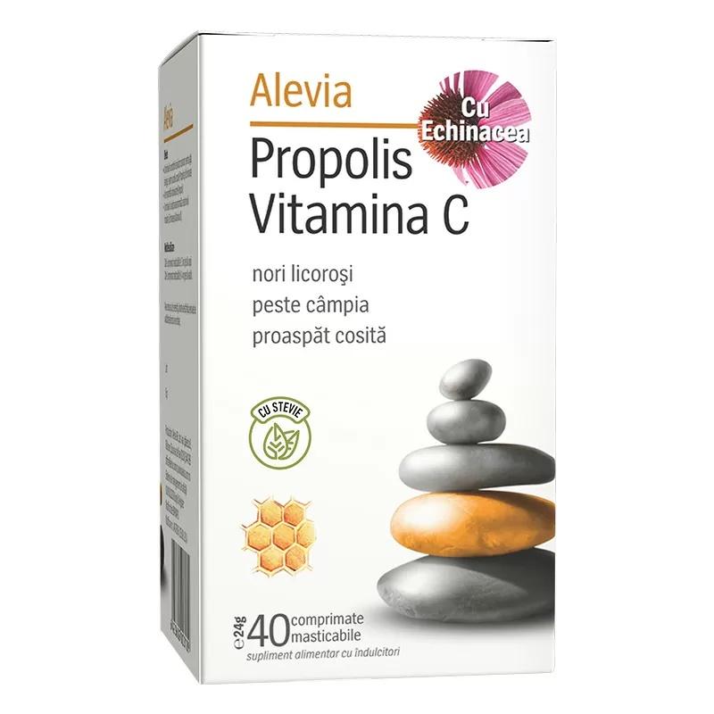 Propolis Vitamina C cu Echinacea și Stevie, 40 comprimate masticabile, Alevia