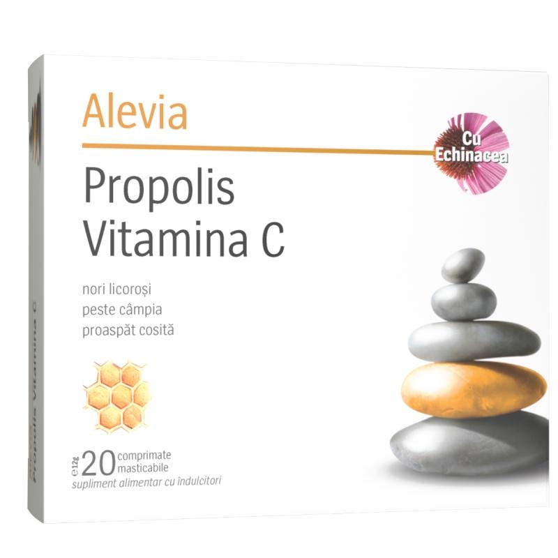 Propolis Vitamina C cu Echinacea, 20 comprimate masticabile, Alevia