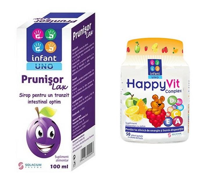 Prunisor Lax Sirop Infant Uno, 100 ml + Happyvit Complex Infant Uno, 50 jeleuri, Solacium Pharma