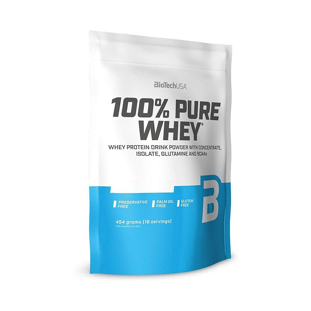 Pudra proteică 100% Pure Whey Caramel - Cappucino, 454 g, BioTech USA