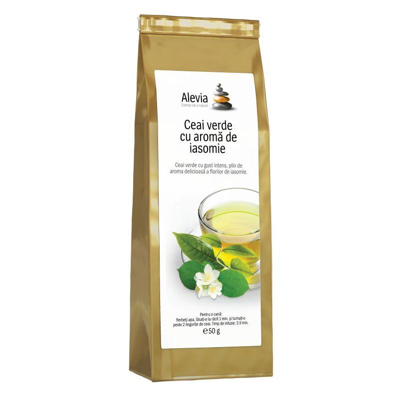 Ceai verde cu aromă de iasomie, 50 g, Alevia