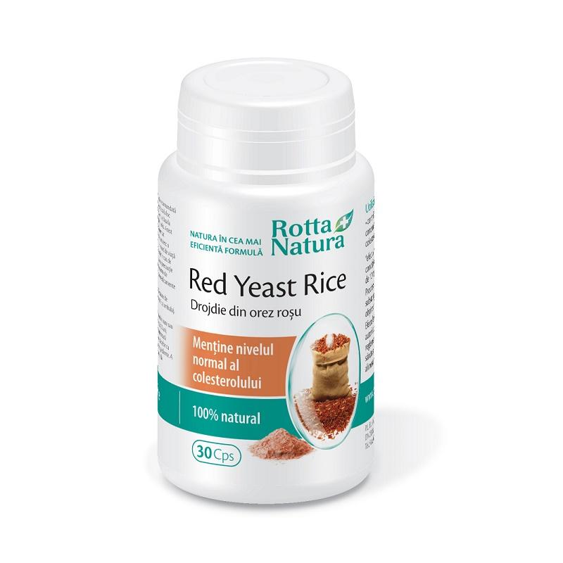 Red Yeast Rice Drojdie din orez roșu 635 mg, 30 capsule, Rotta Natura