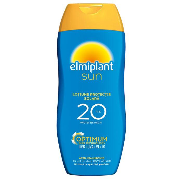Loțiune cu protecție solară ridicată SPF 20 Optimum Sun, 200 ml, Elmiplant