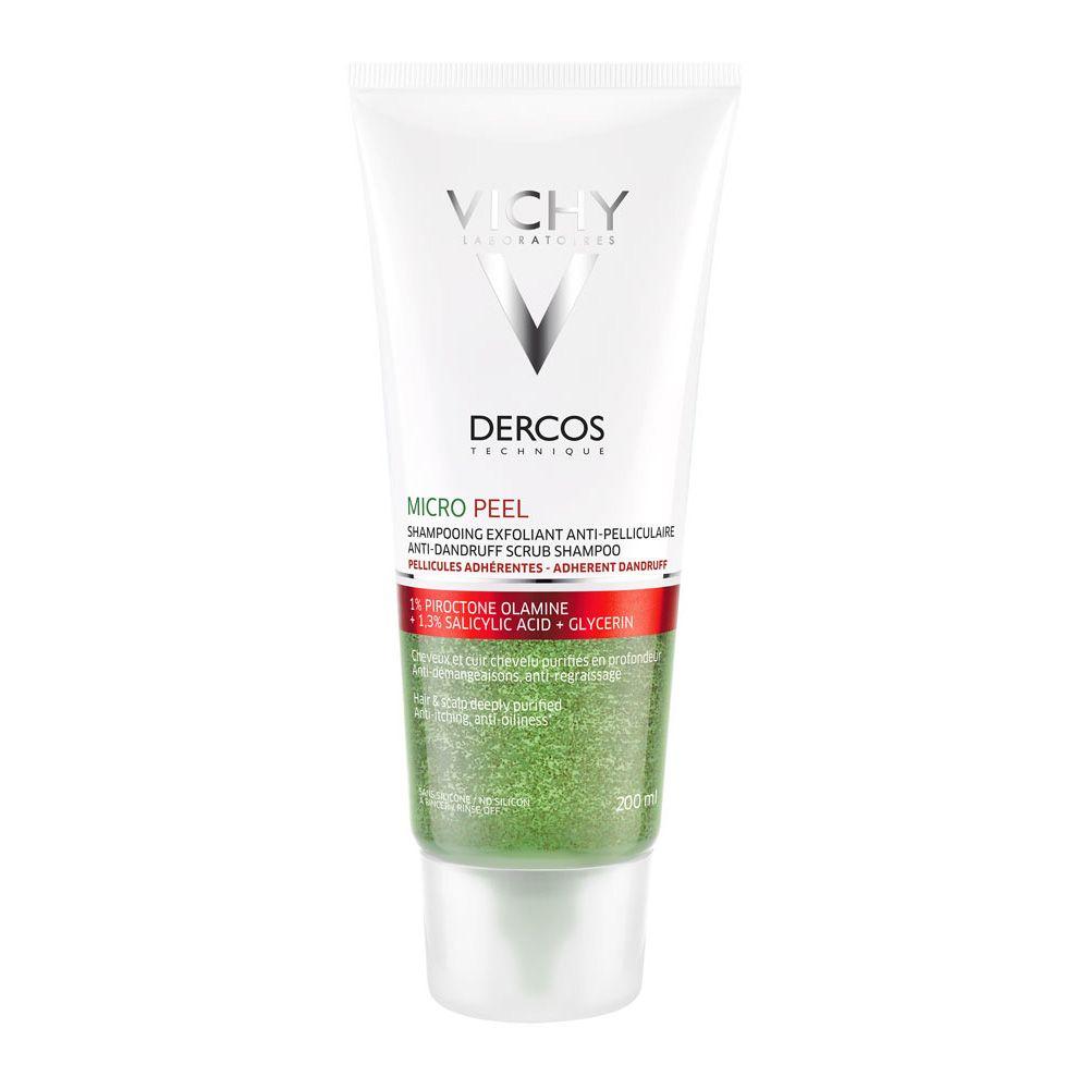 Șampon exfoliant împotriva matreții aderente Dercos Micro Peel, 200 ml, Vichy