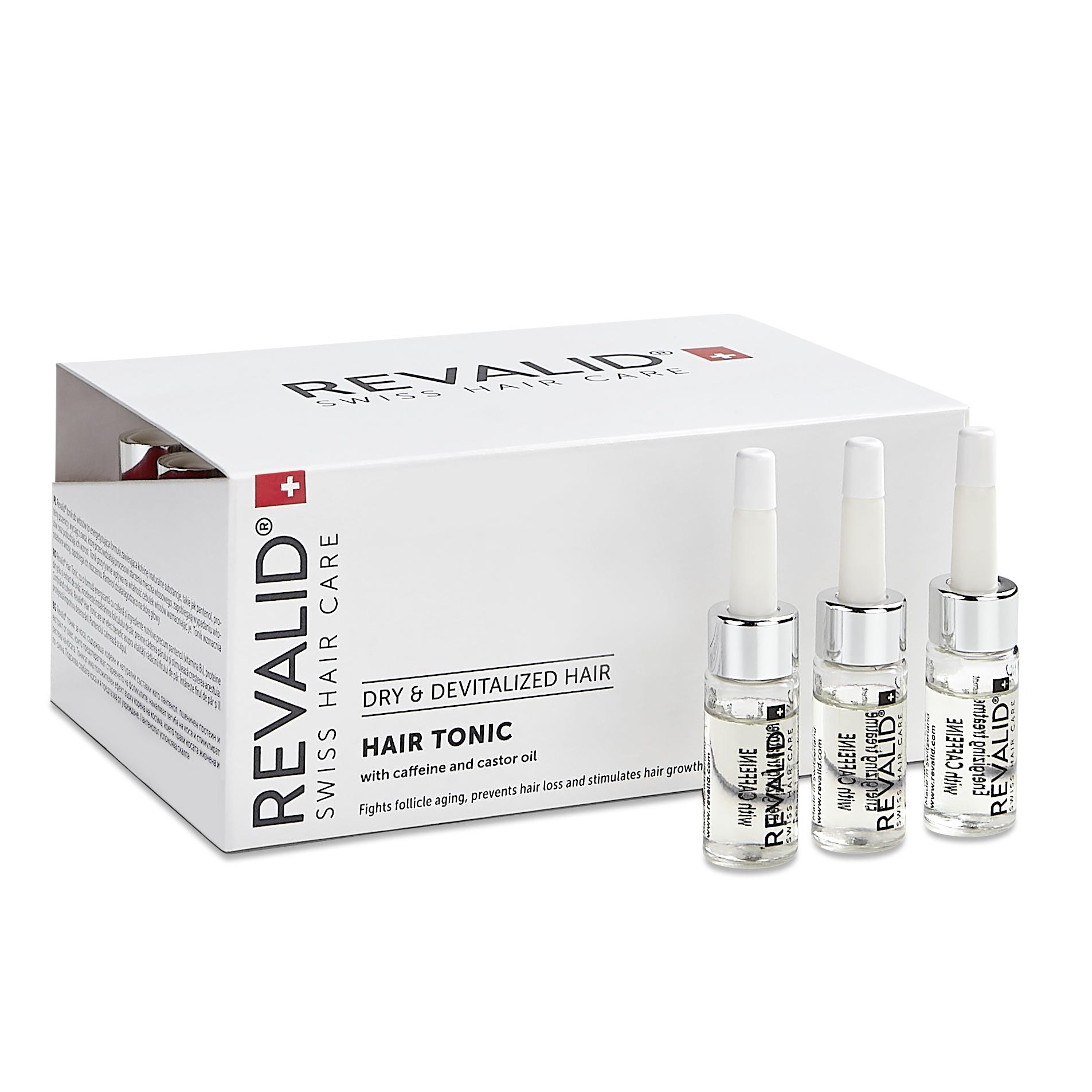 Loțiune activă și energizantă cu cofeină și extracte naturale pentru par Revalid Tonic, 20 fiole, Ewopharma