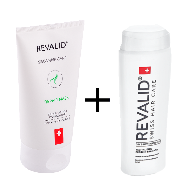 Pachet Mască reparatoare Revalid, 150 ml + Șampon revitalizant Revalid, 250 ml, Ewopharma