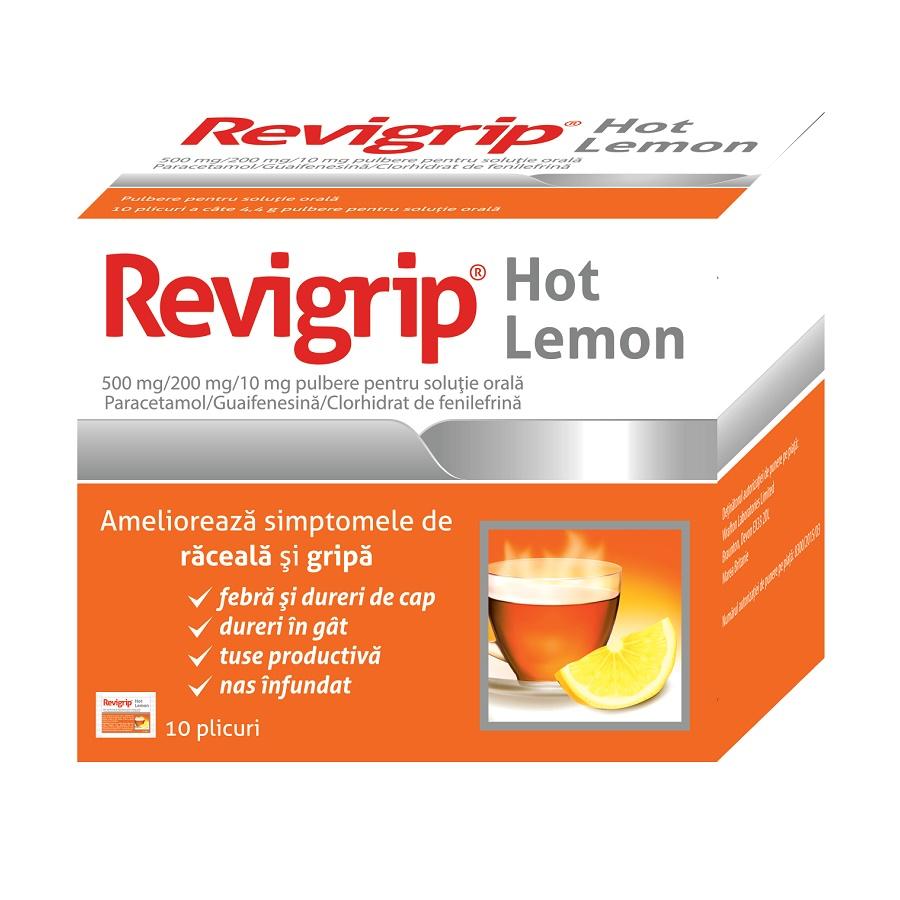 Revigrip Hot Lemon, 10 plicuri, Solacium Pharma