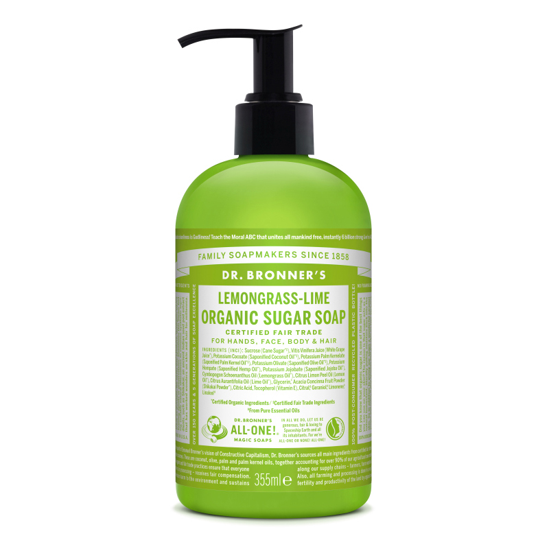 Sapun lichid cu lemongrass si lime Shikakai, 355 ml, Dr. Bronner's