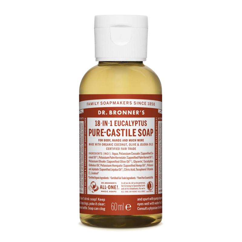 Sapun magic lichid 18in1 cu eucalipt pentru calatorii, 60 ml, Dr. Bronner's