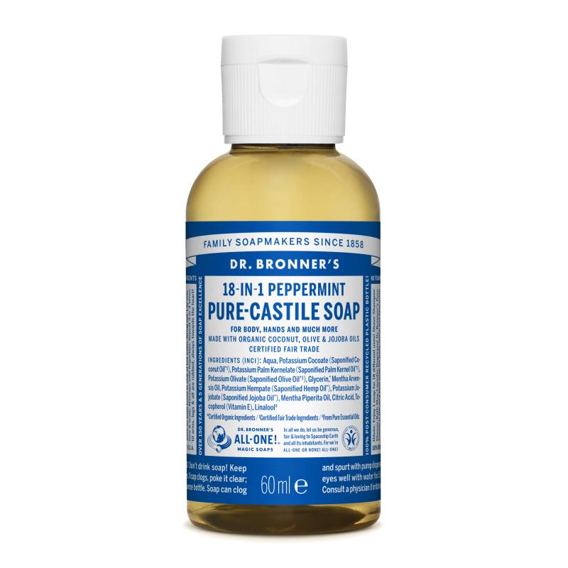Sapun magic lichid 18in1 cu menta pentru calatorii, 60 ml, Dr. Bronner's