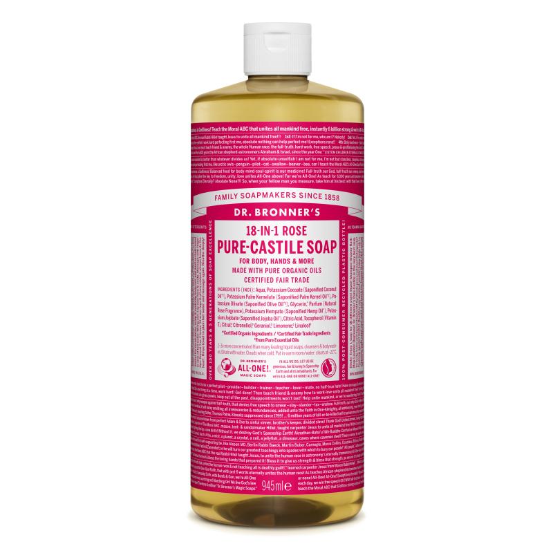Sapun magic lichid 18in1 cu trandafiri, 945 ml, Dr. Bronner's