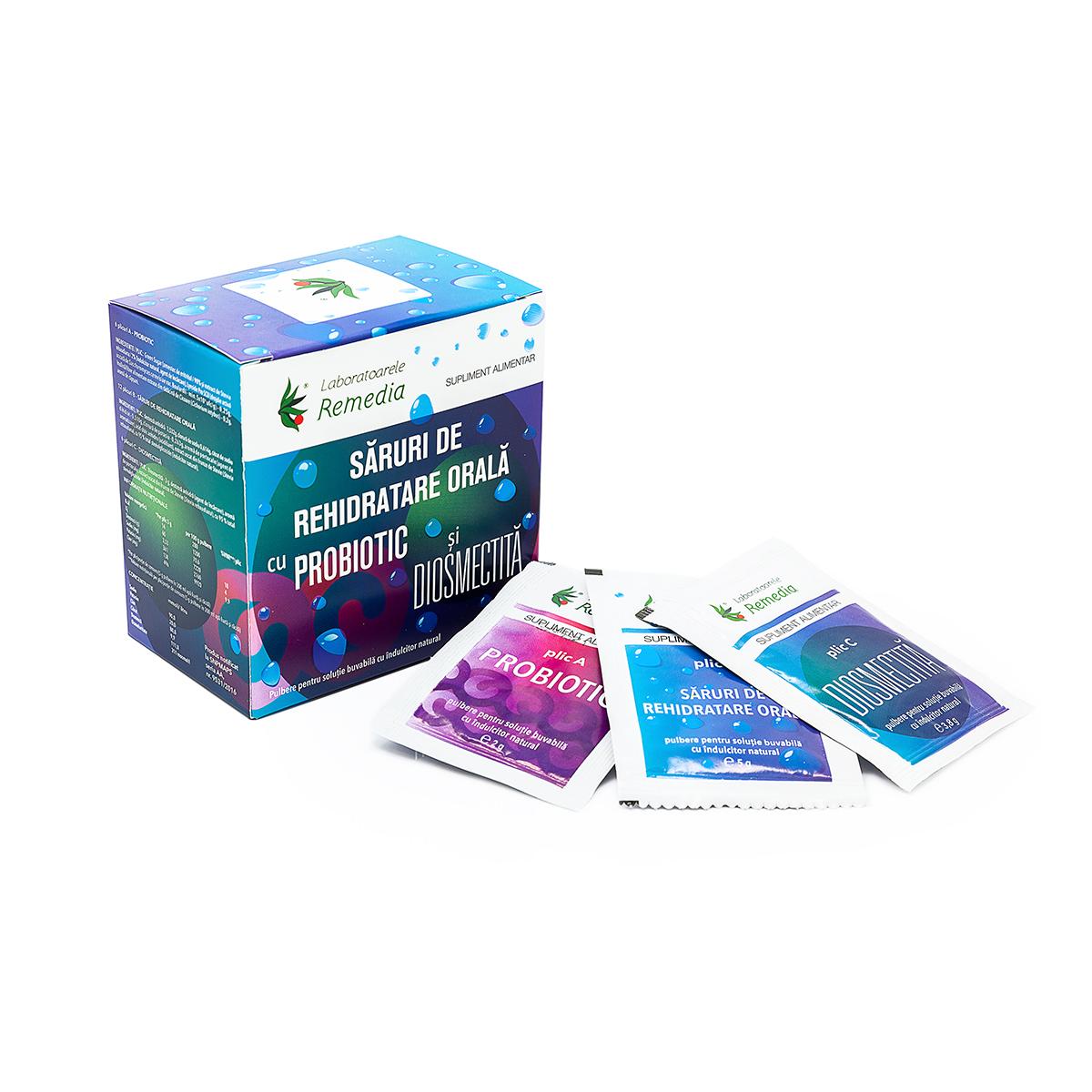 Săruri rehidratare cu probiotic și diosmectită, 24 plicuri, Remedia